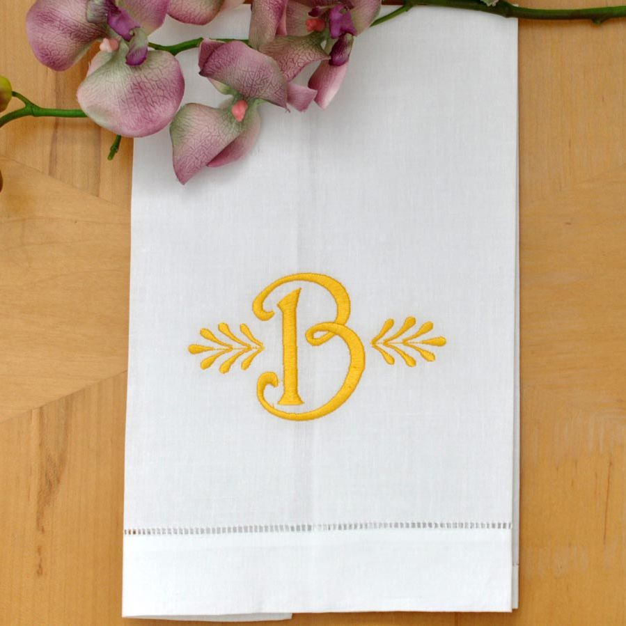 Bumblebee Linens Monogrammed White Linen Hand Towel with Single Font X