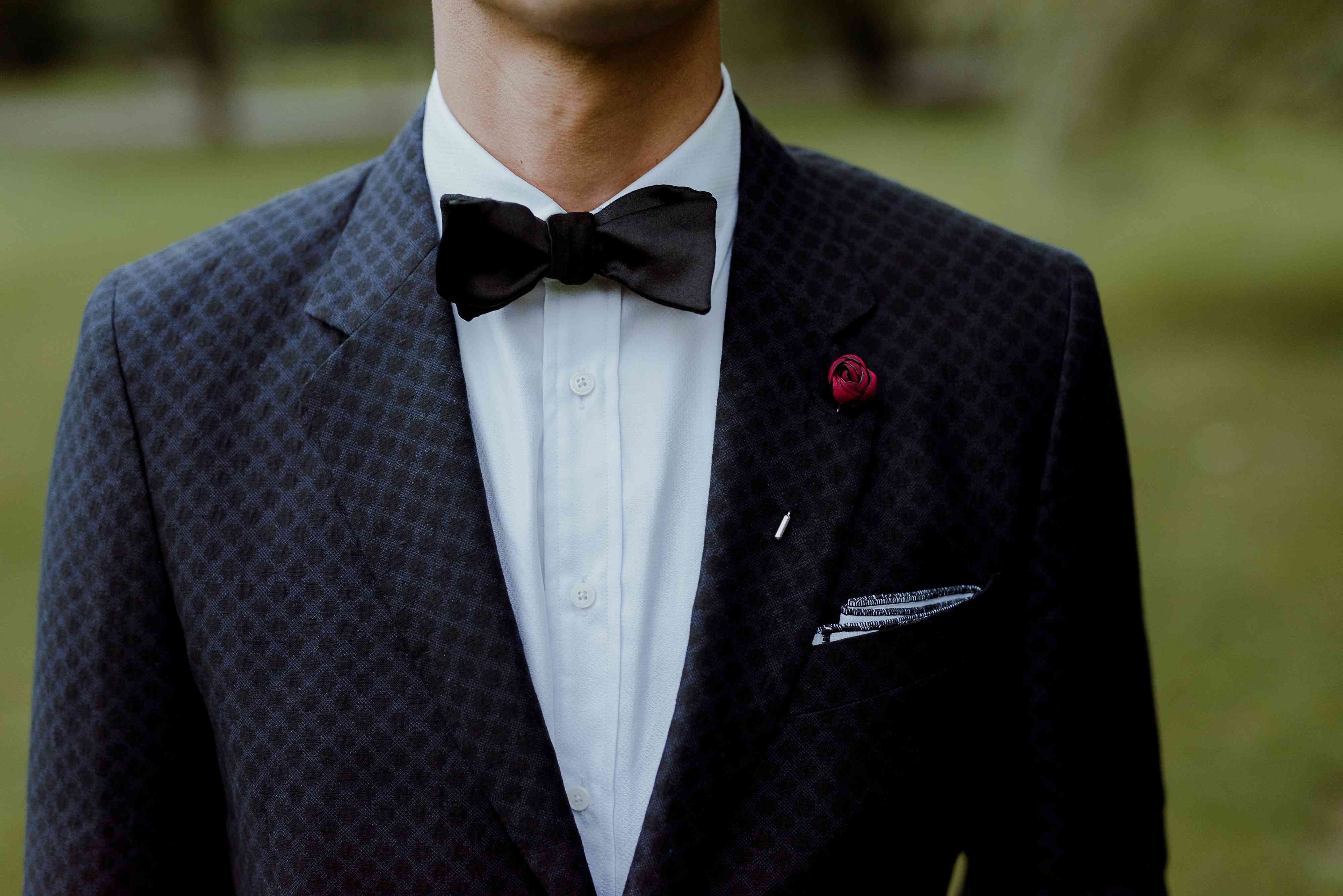 Groom bowtie closeup