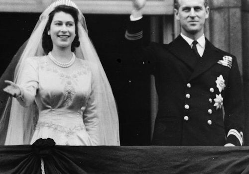 Queen Elizabeth (left) and Prince Philip on their wedding day