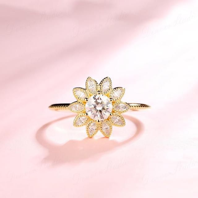 Denver Studio Sunflower Shaped Moissanite Ring