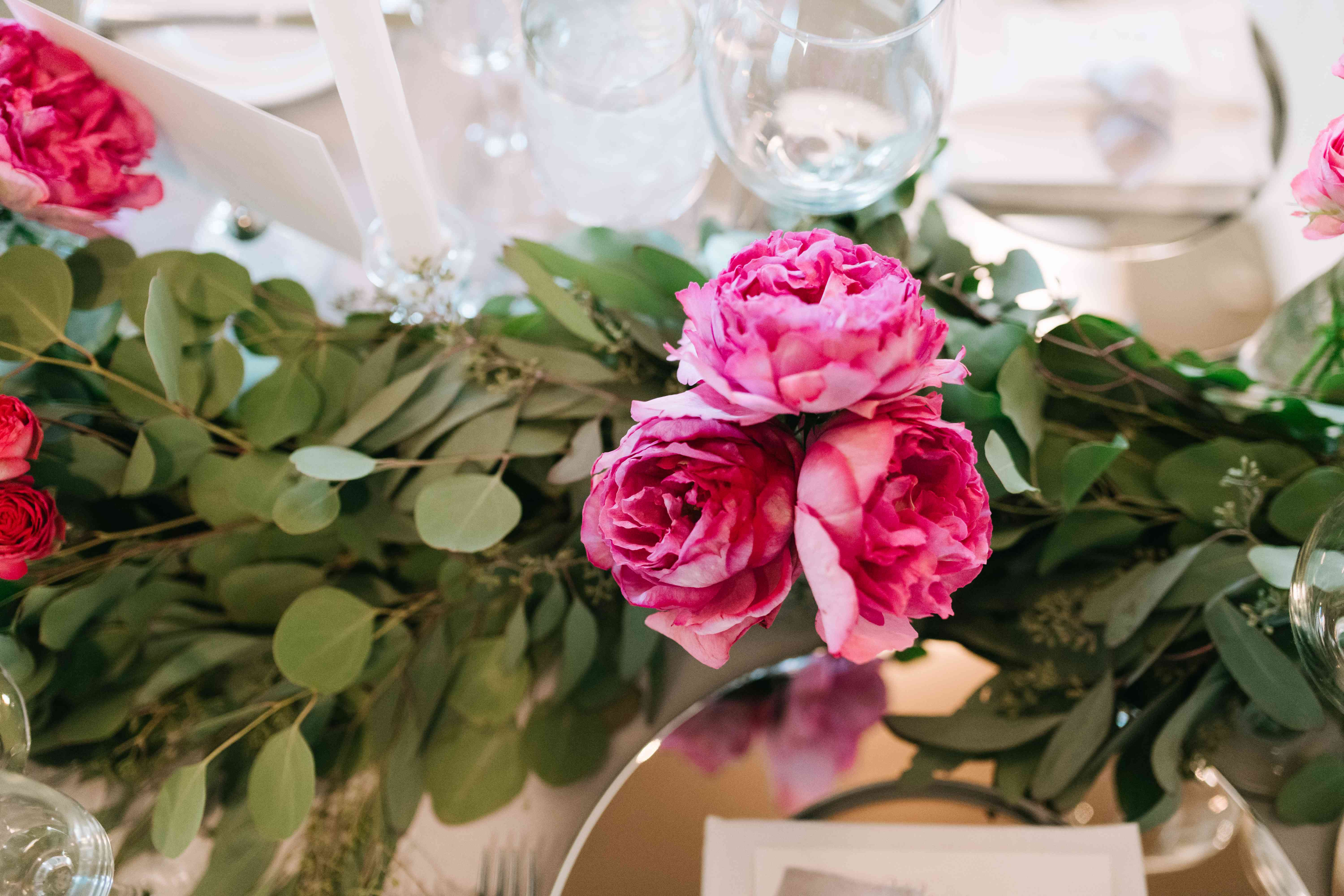 Pink Flowers and Greenery Centerpieces
