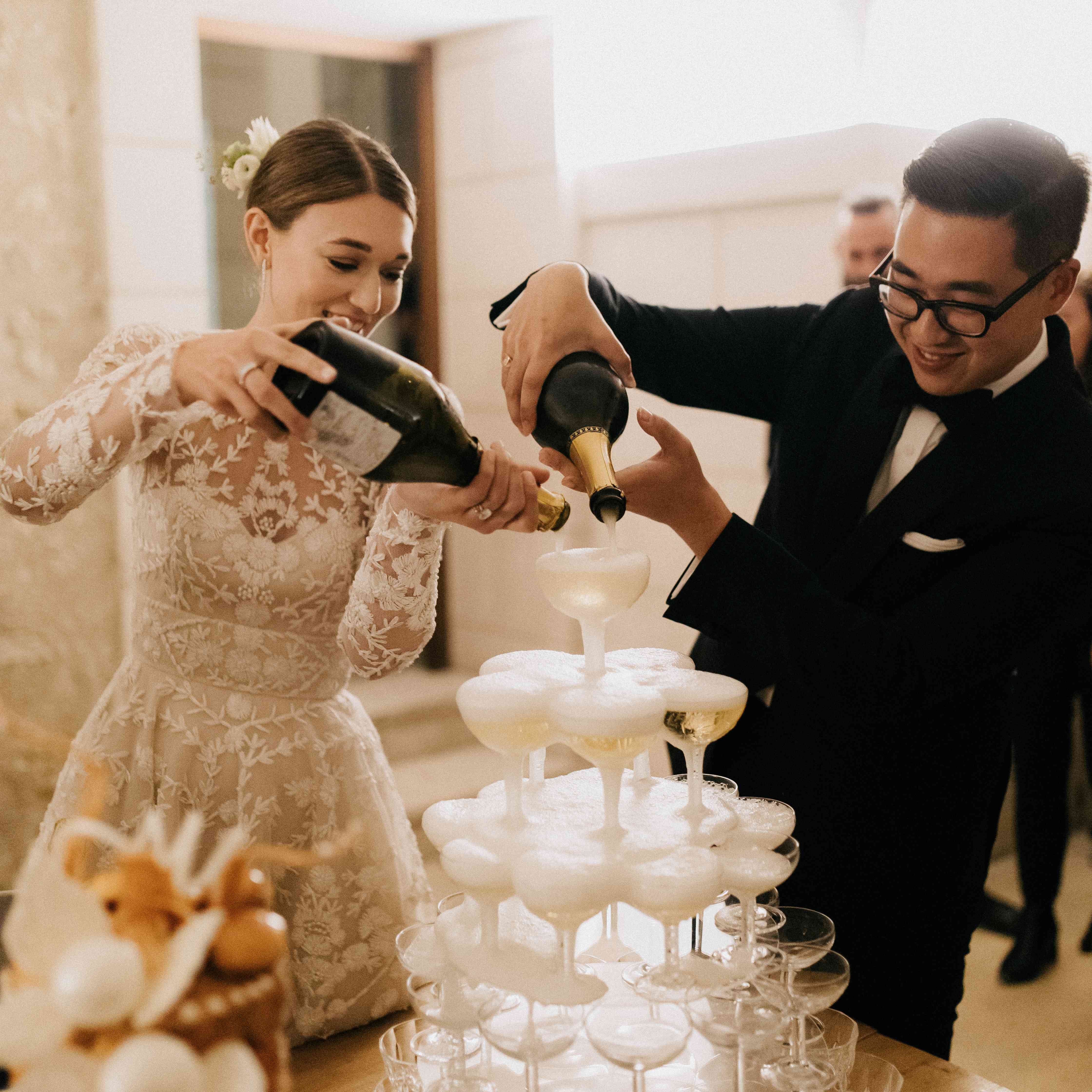 <p>champagne tower</p><br><br>