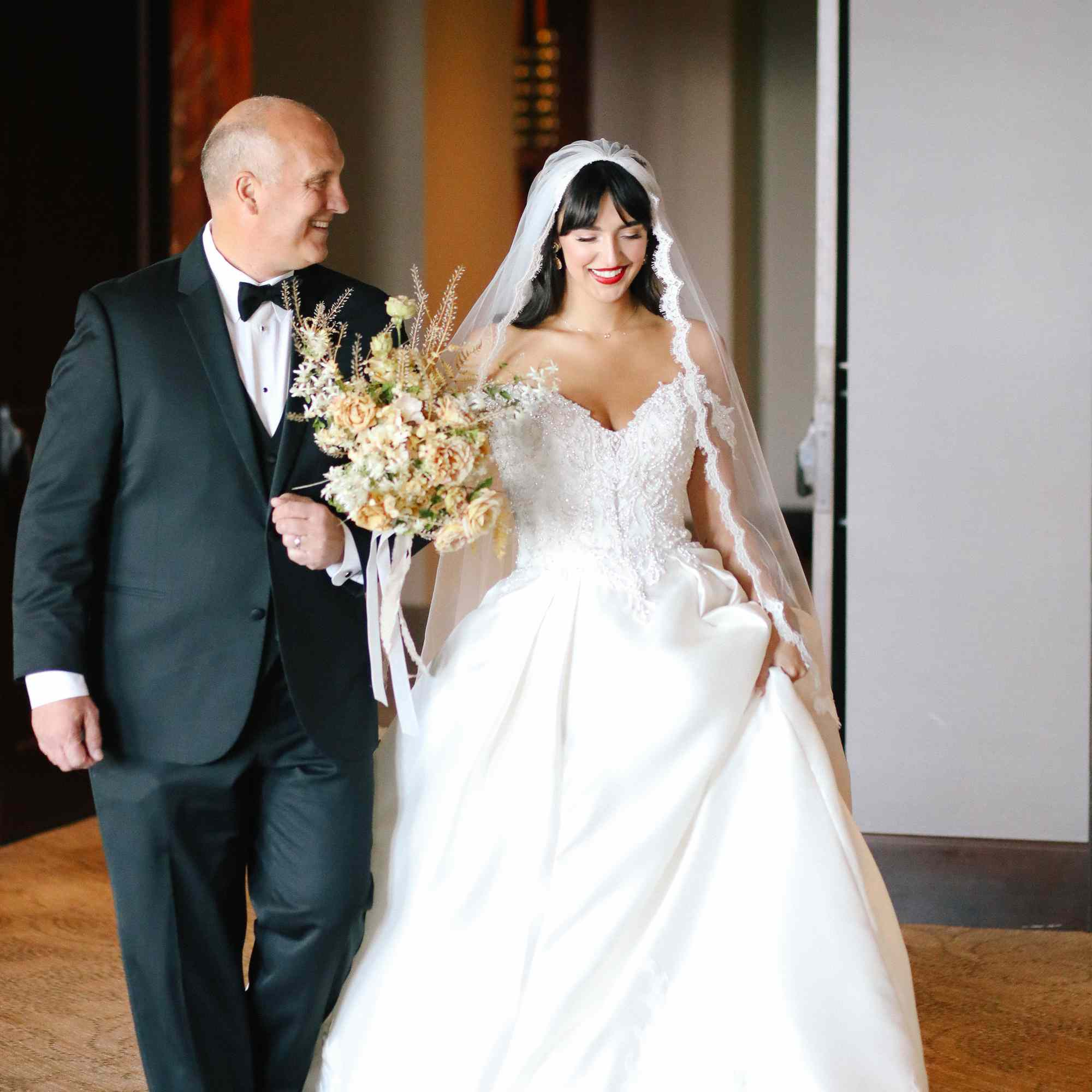 savannah and riker wedding, bride with father of the bride