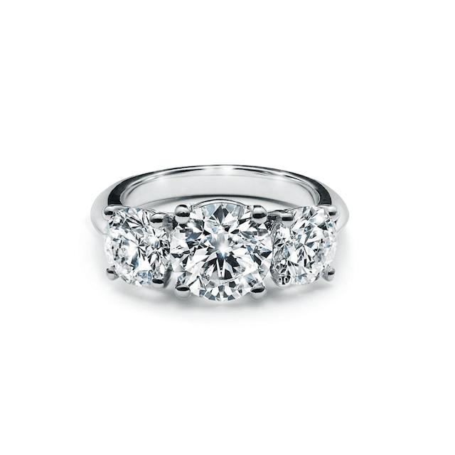 Tiffany & Co. Three Stone Engagement Ring in Platinum