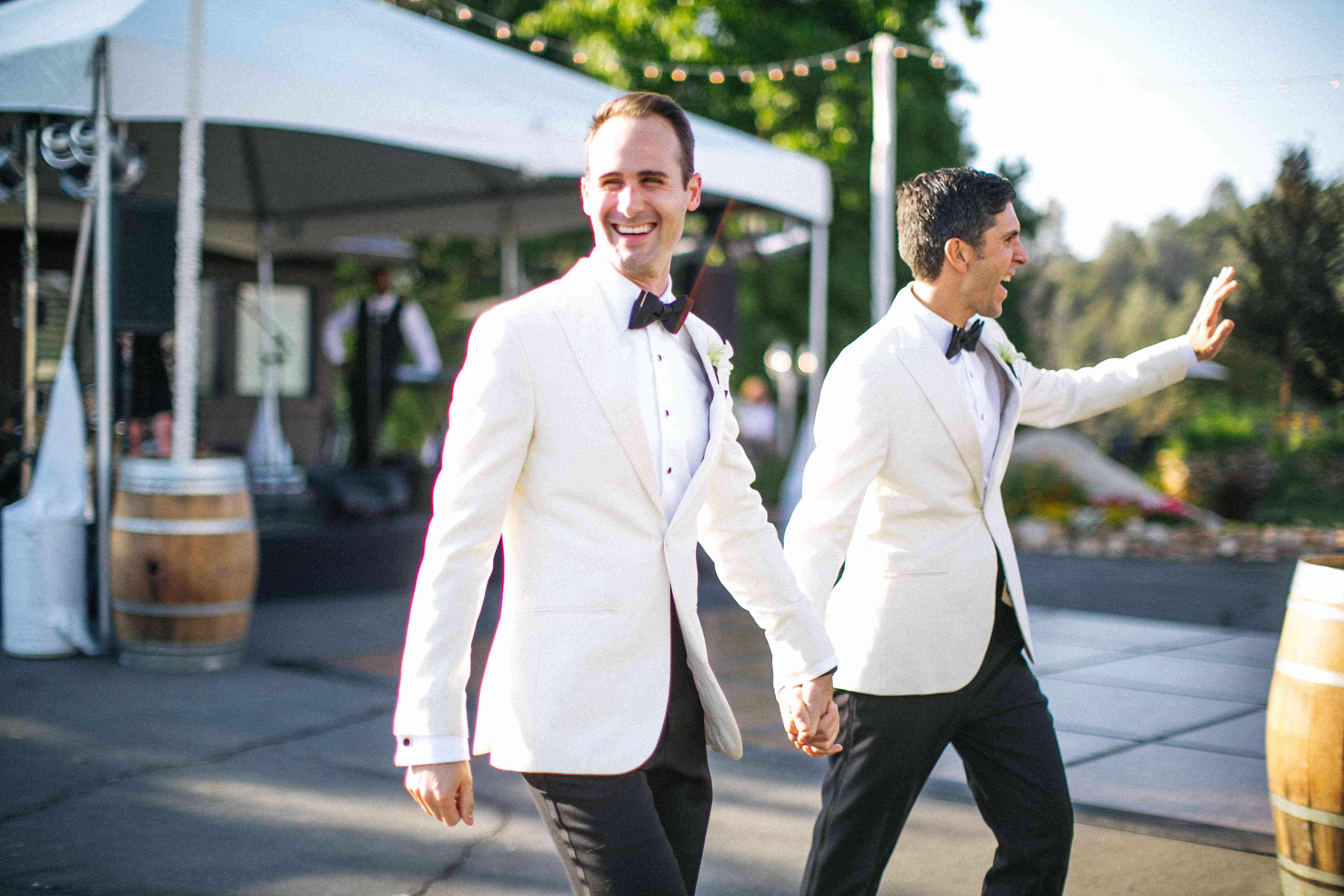 Grooms at reception