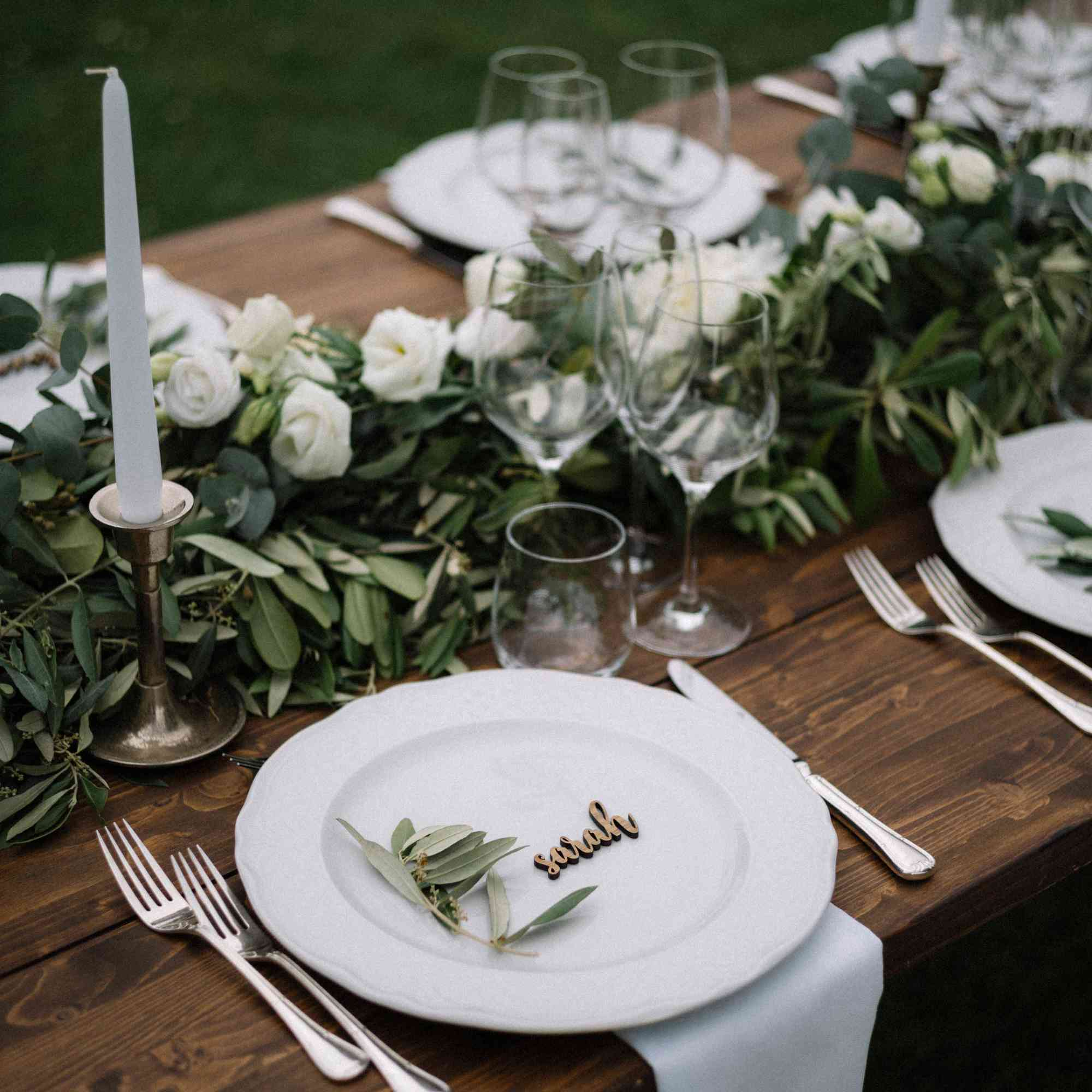 tablescape olive branches and eucalyptus