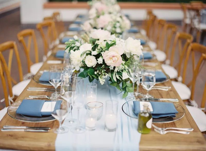 Wedding table set-up with pink and white flowers