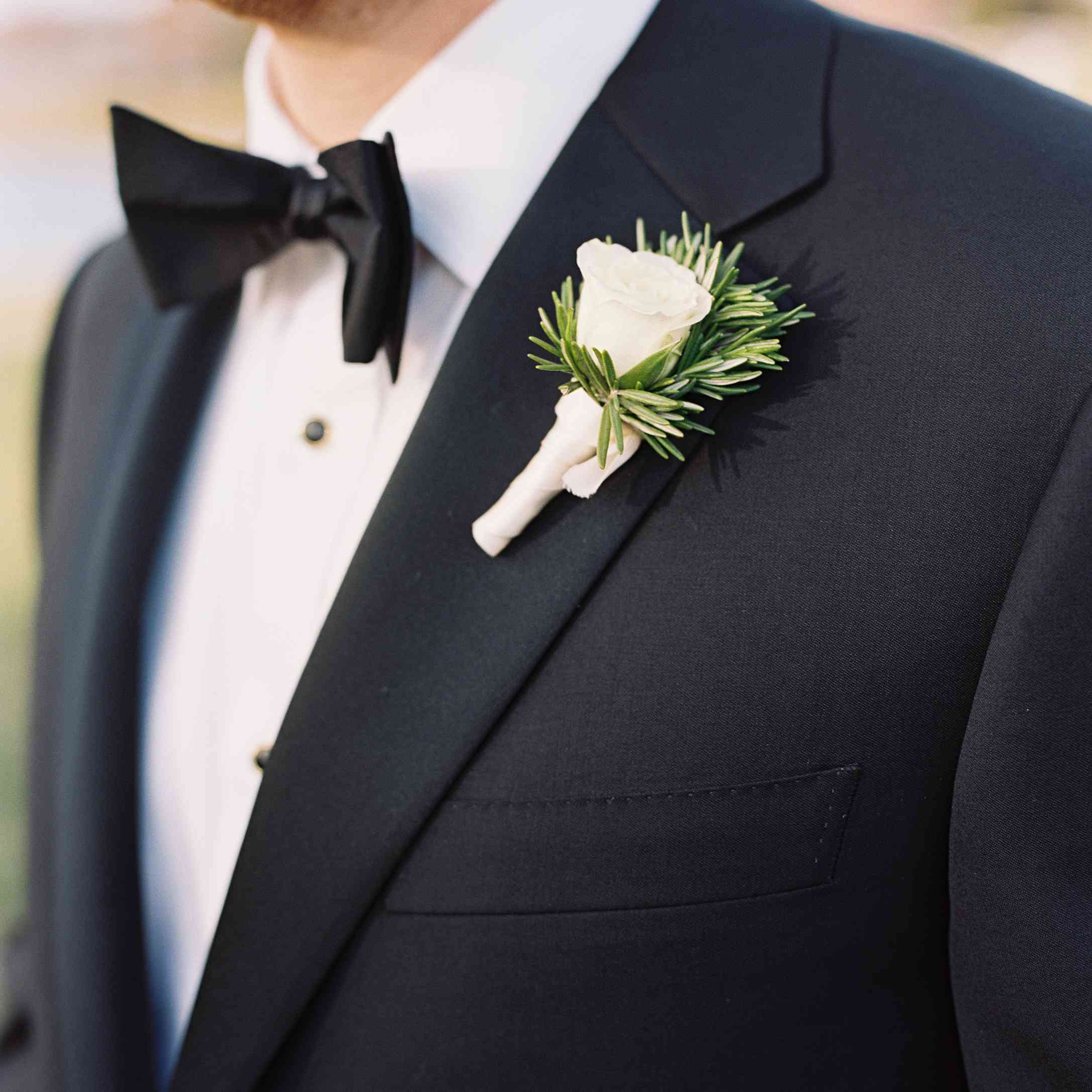 Rose and rosemary boutonniere