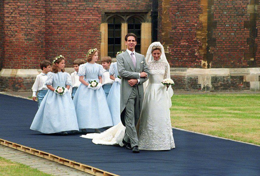 Princess Marie-Chantal with Prince Pavlos on their wedding day