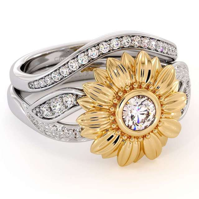 Camellia Yellow and White Gold Sunflower Engagement Ring