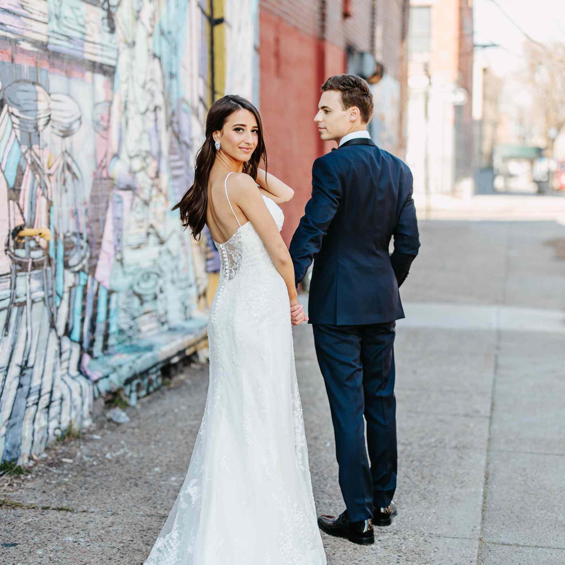 bride and groom in Brooklyn