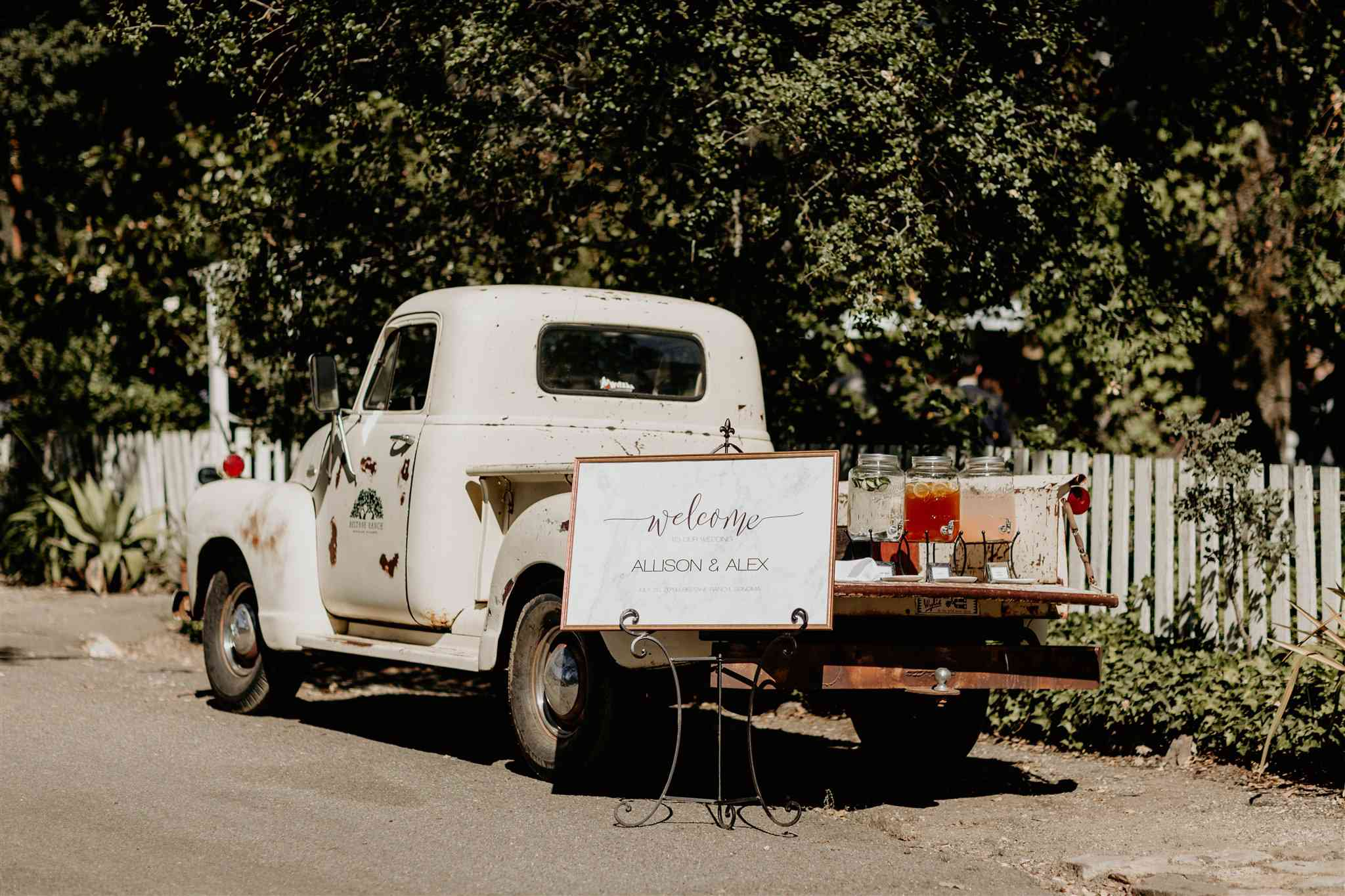 Refreshment station on the bed of a vintage truck
