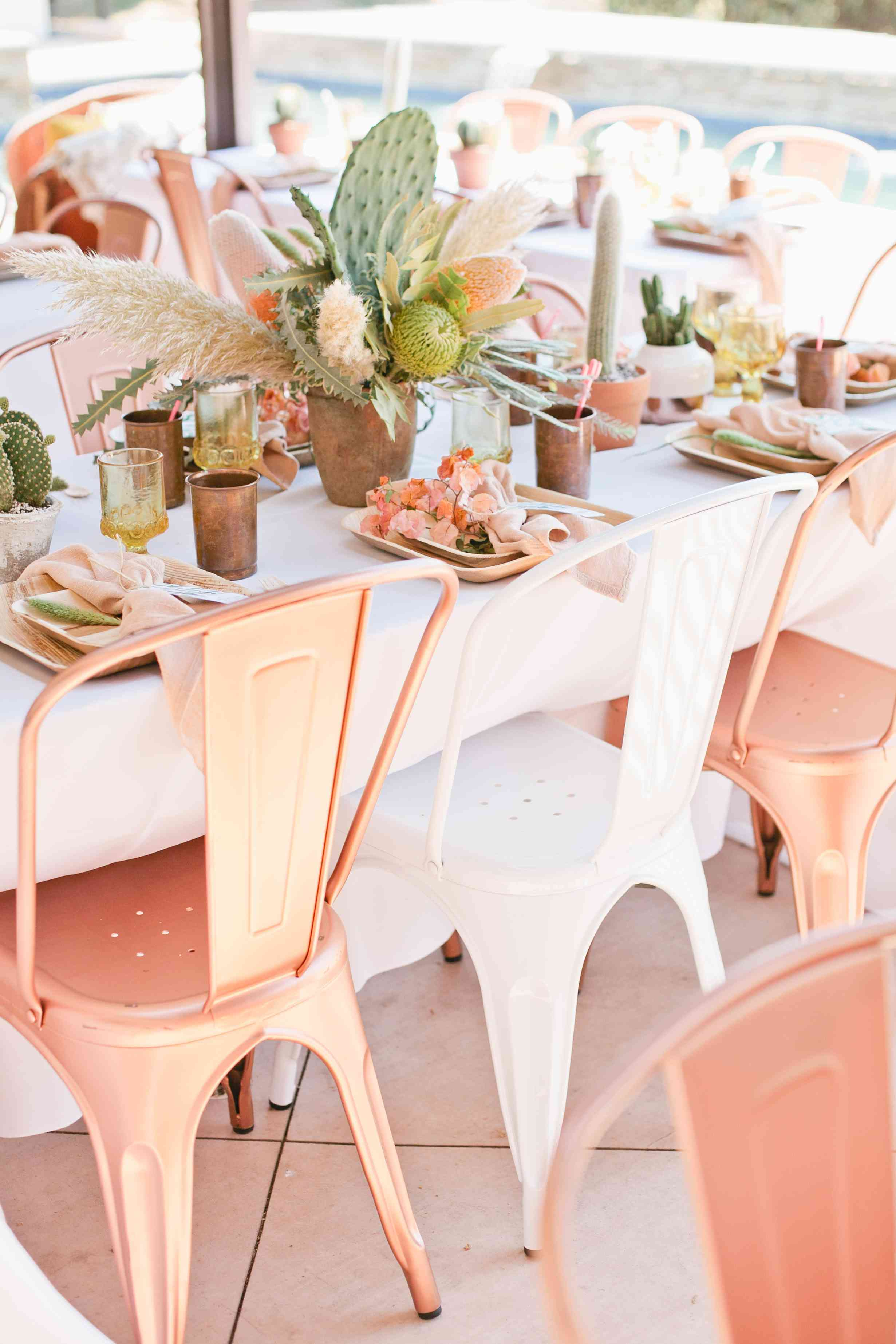 Copper Wedding Reception Chairs and Cacti Centerpieces