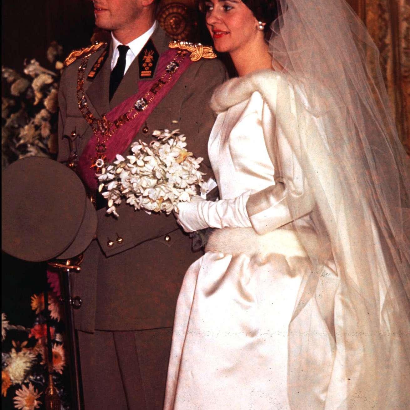 King Baudouin and Queen Fabiola of Belgium during their wedding