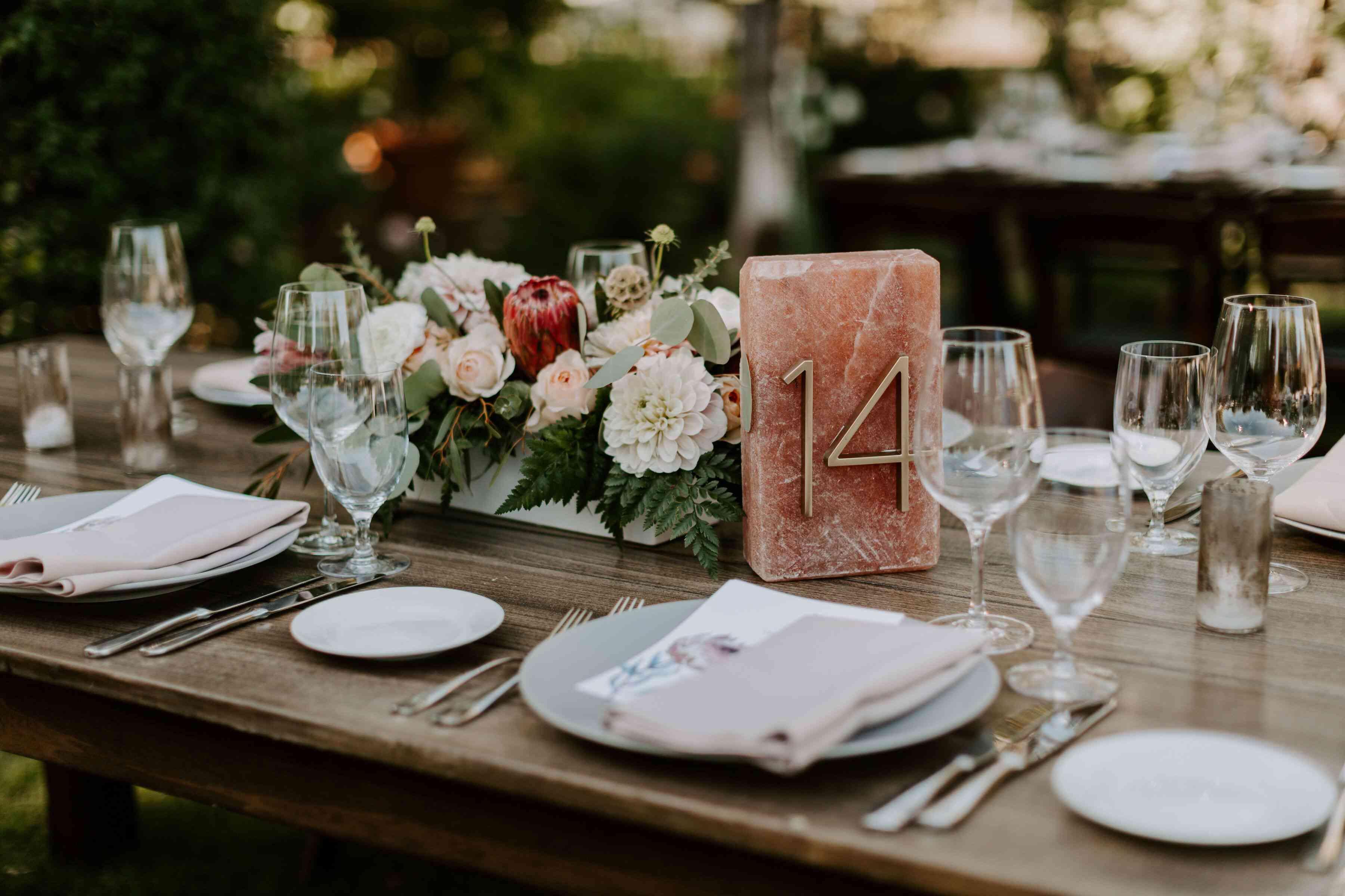 Pink salt-block table number