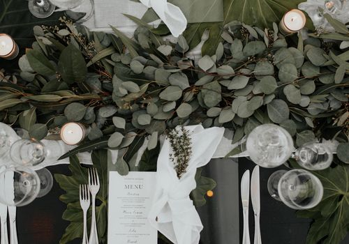eucalyptus and white rose table runners
