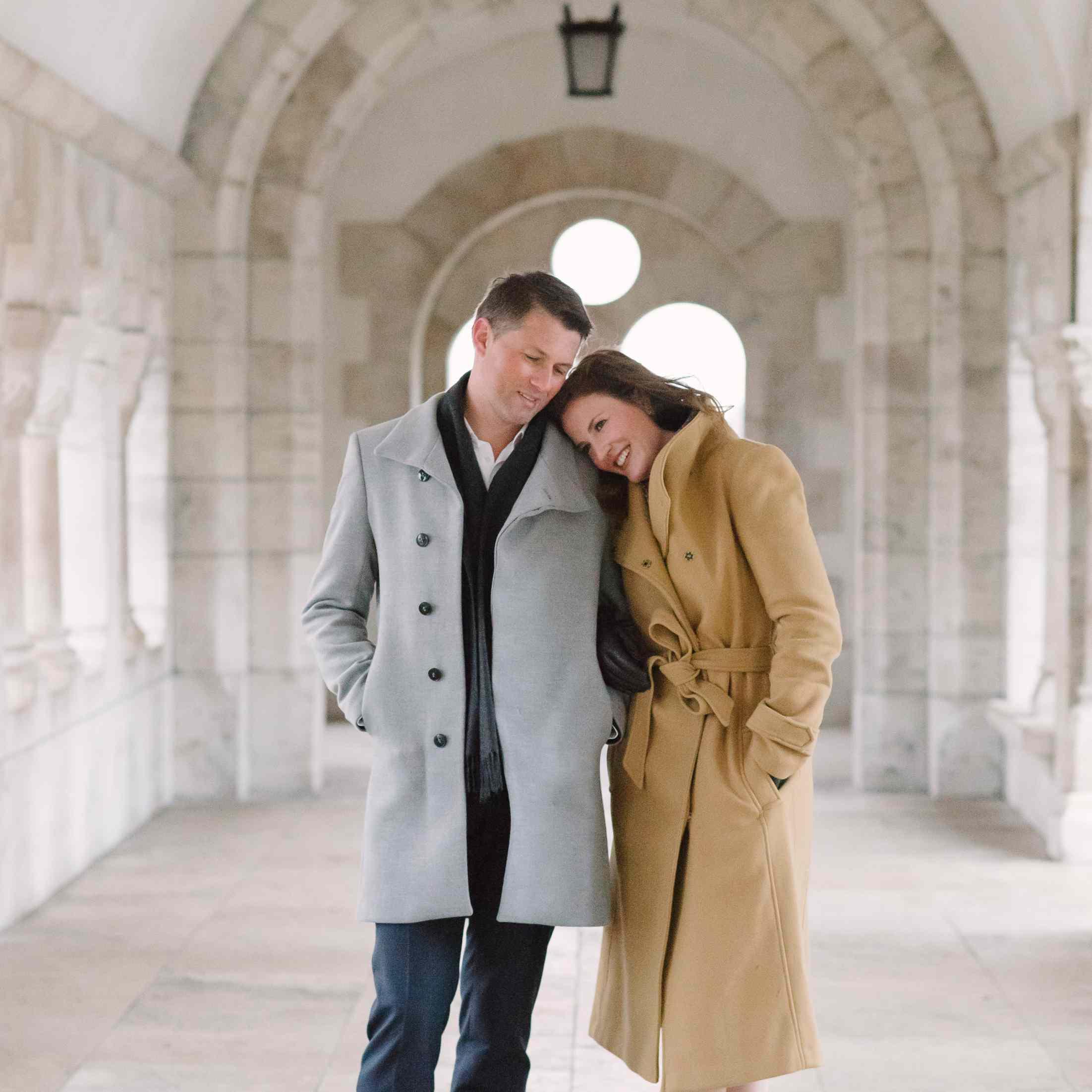 Couple hugging on their honeymoon