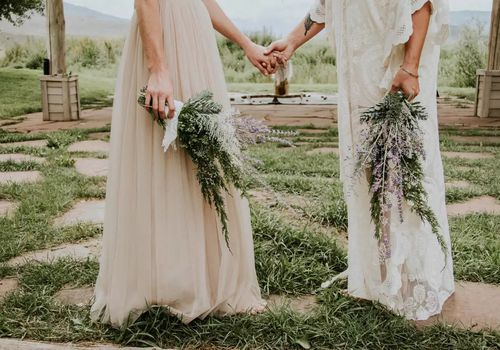bouquets of lavender and greenery
