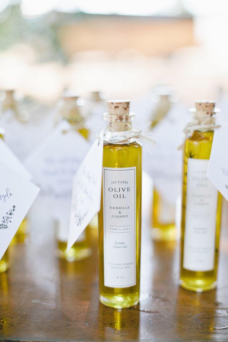 Olive oil bottles with custom labels