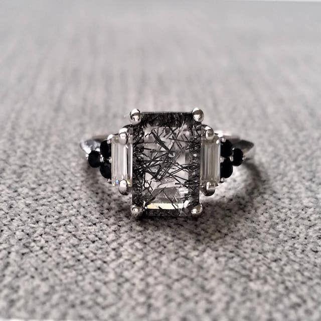 Penelli Belle Antique Rutile Quartz Moissanite Black Diamond Engagement Ring