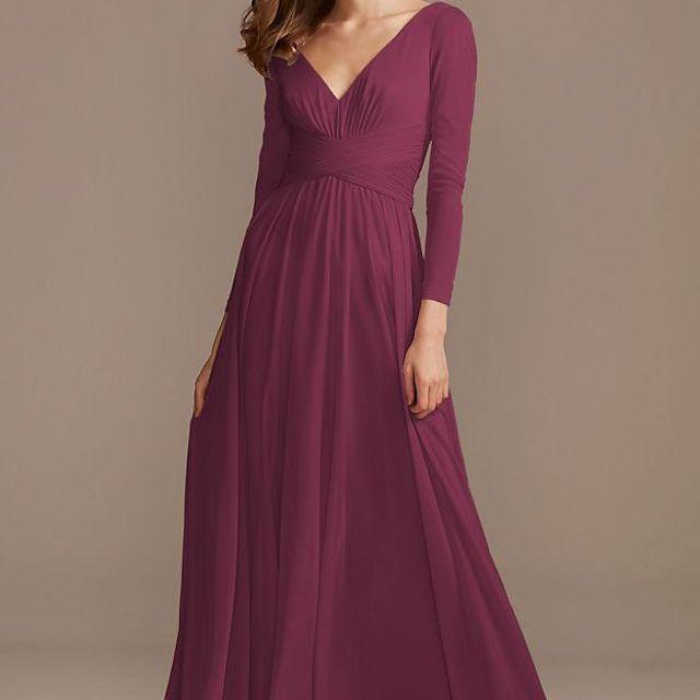 David's Bridal Mesh Illusion Long Sleeve Bridesmaid Dress $159.95