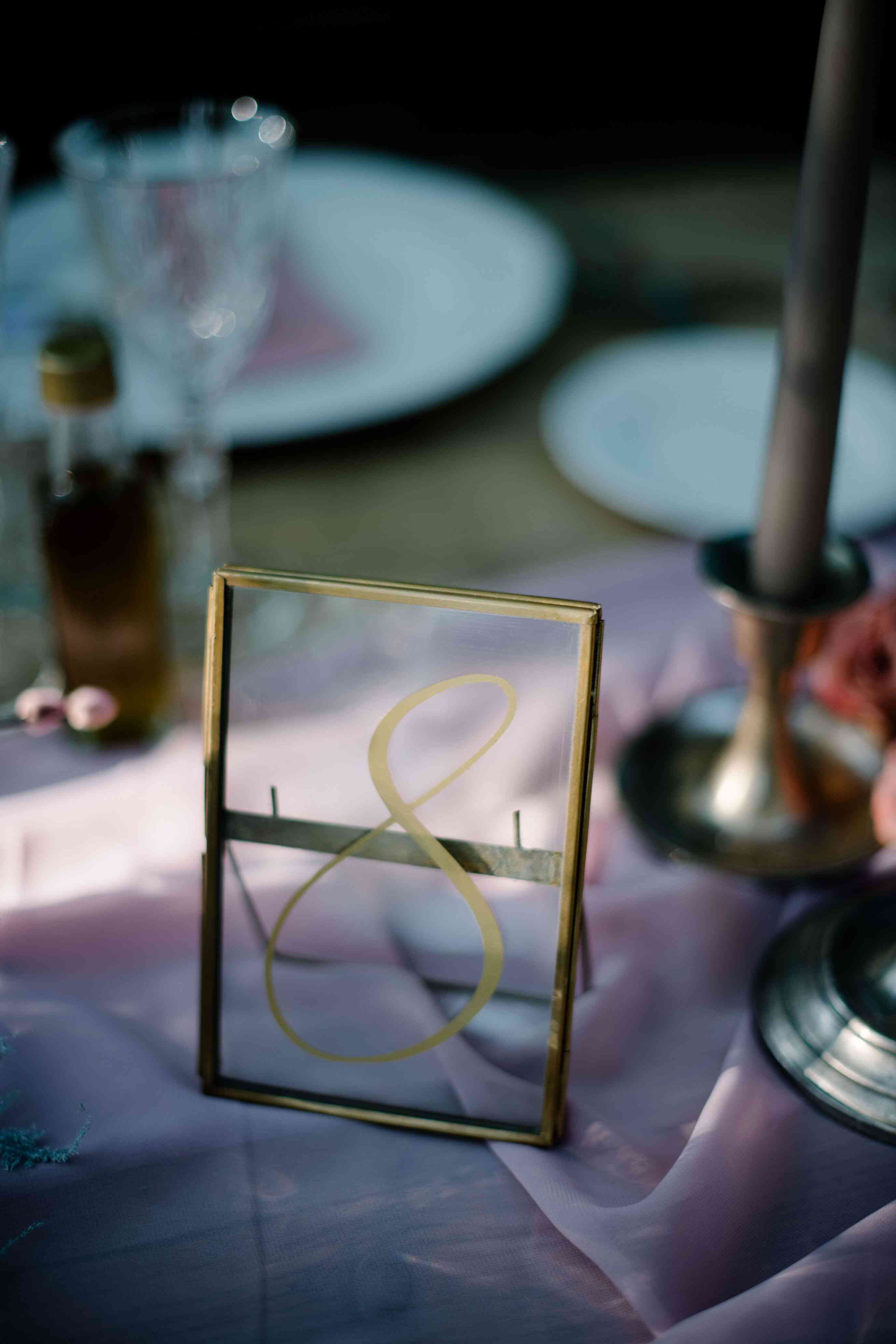 Handpainted frame as table number