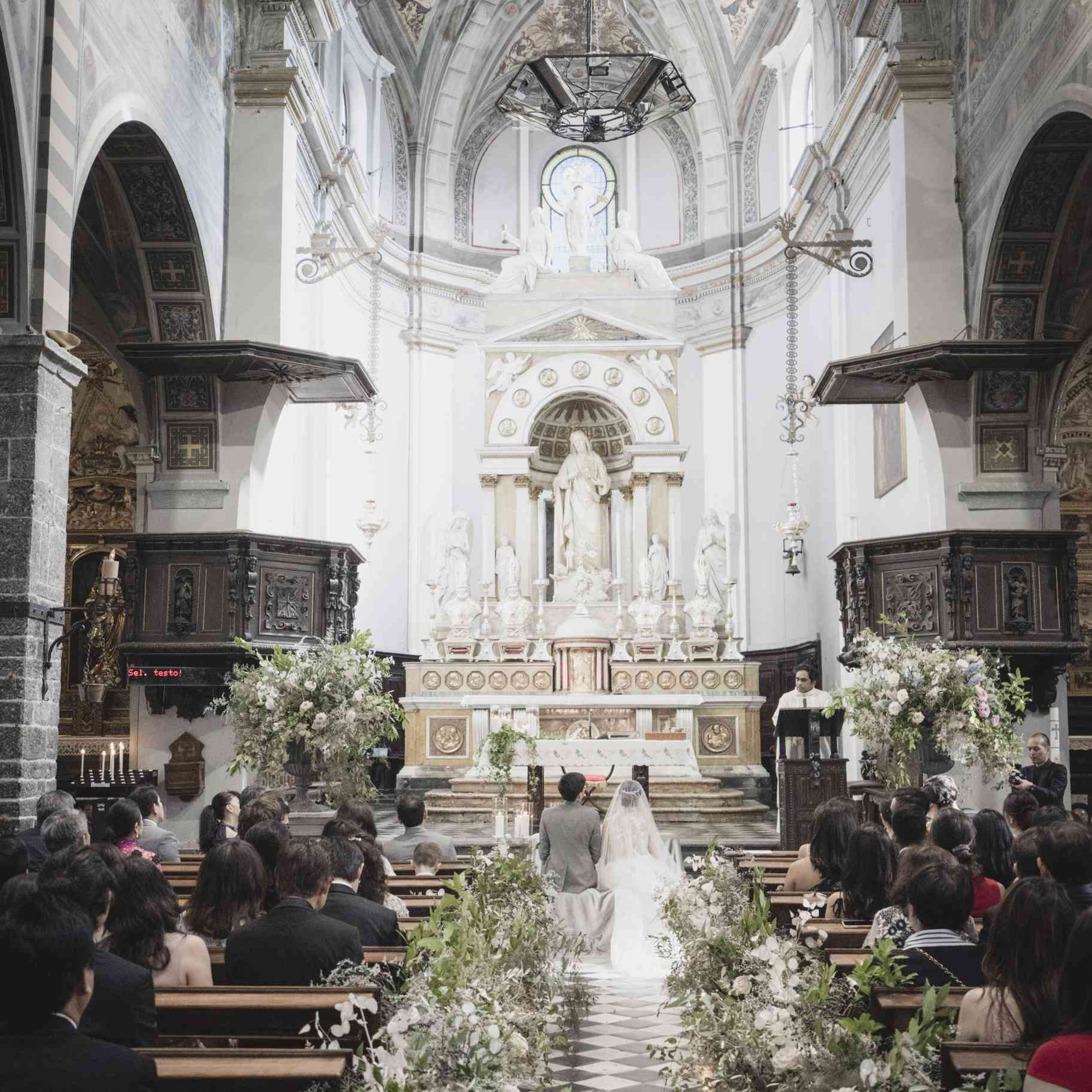 romantic lake como wedding, ceremony church