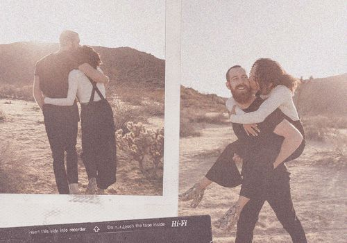 couple in desert collage