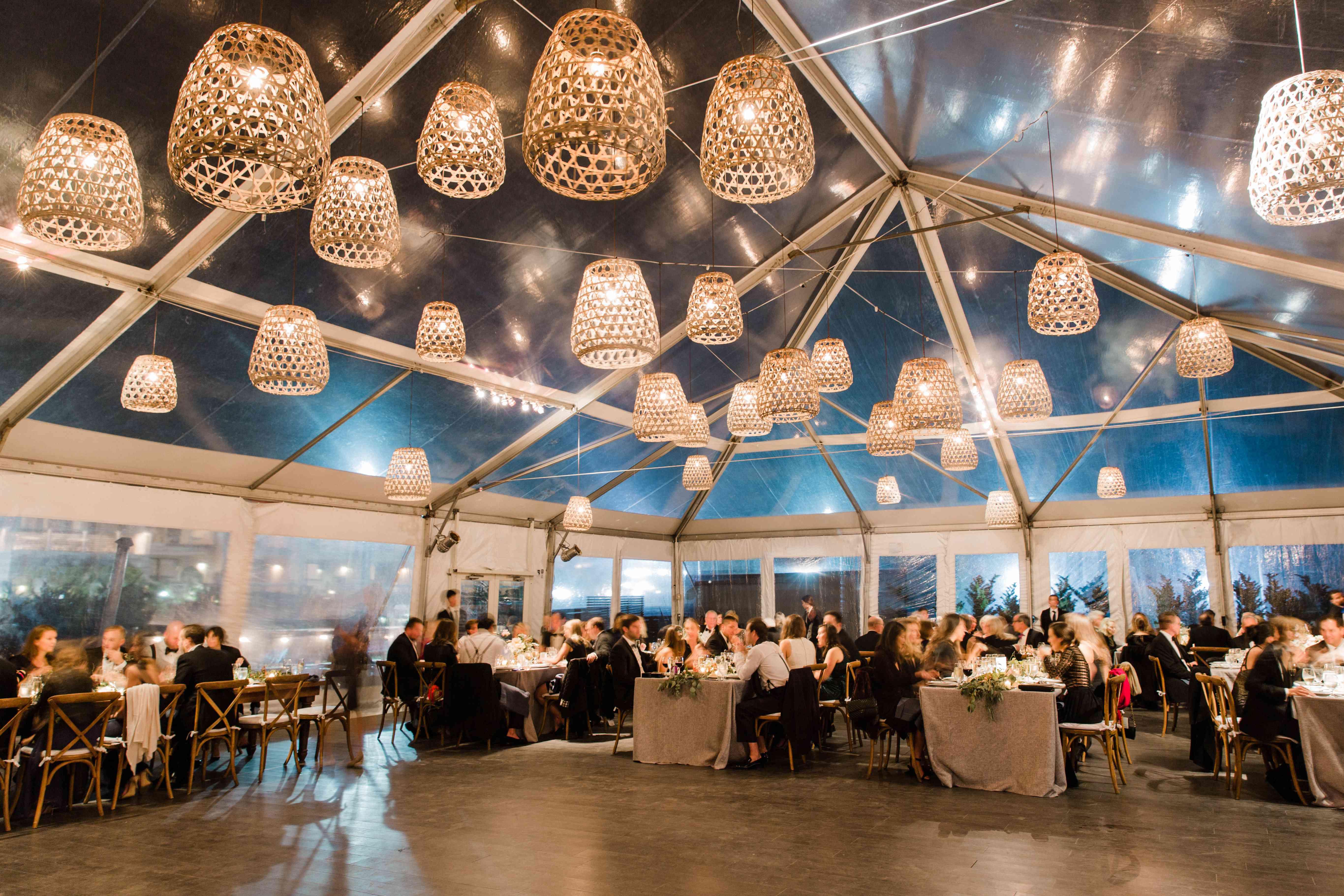 <p>tent reception lanterns wedding guests</p><br><br>