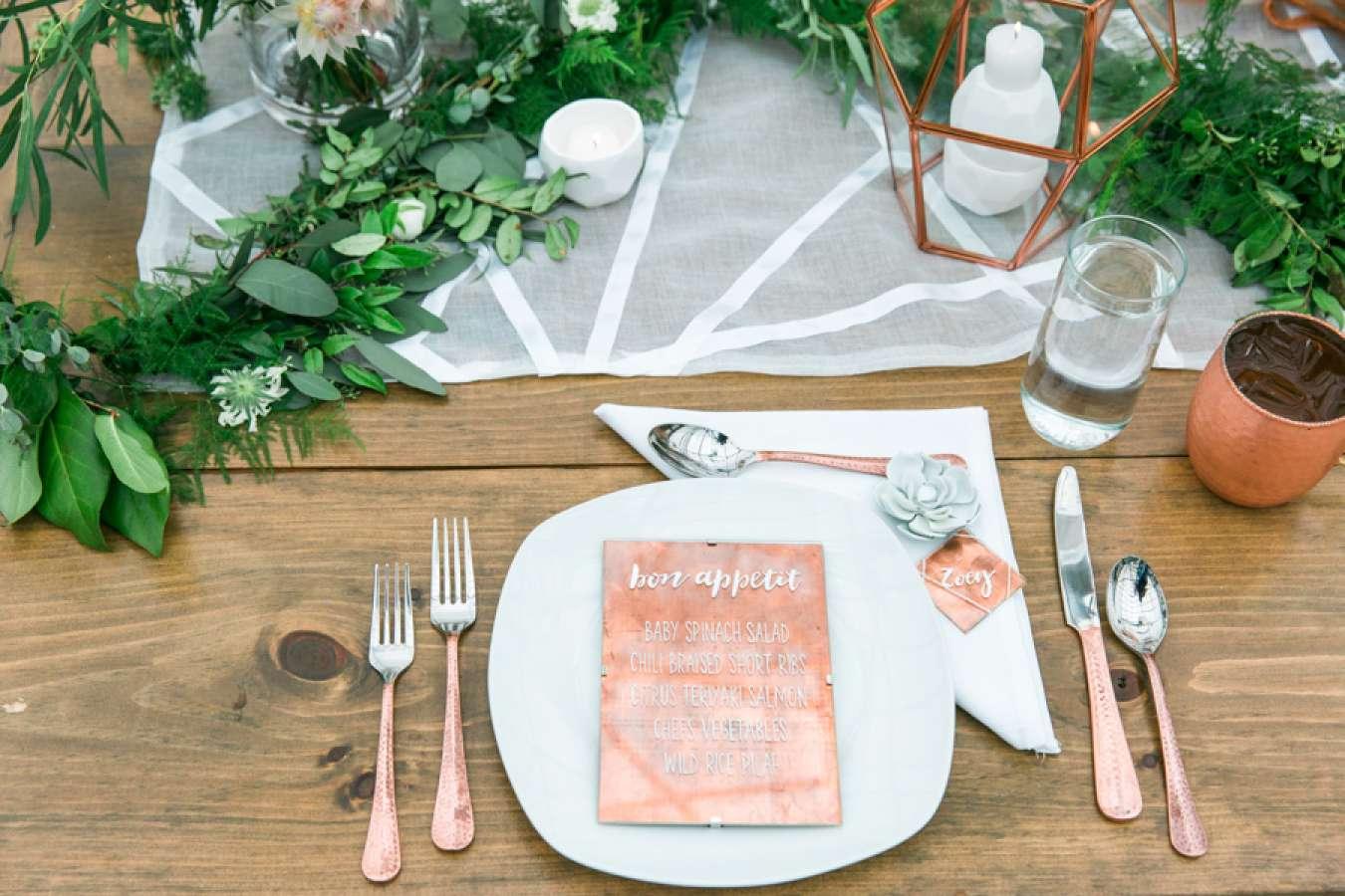 Copper and Rose Gold Wedding Menu
