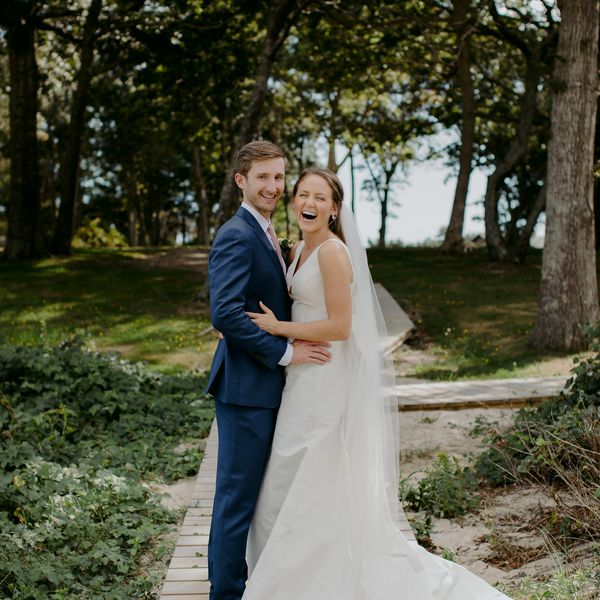 at-home rustic massachusetts wedding, bride and groom embracing