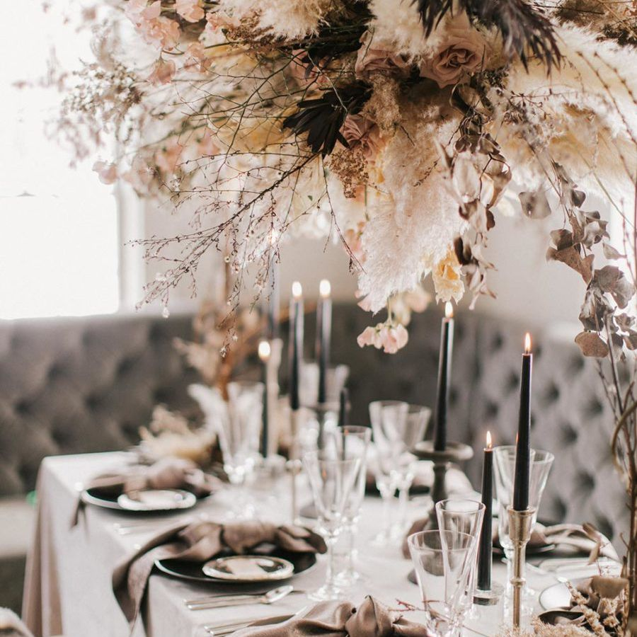 Black candles on tablescape