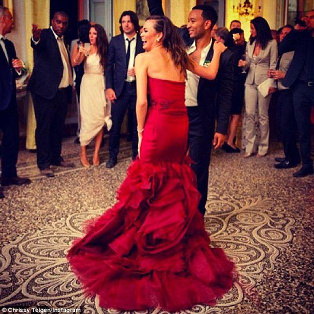 Chrissy Teigen's Red Wedding Dress
