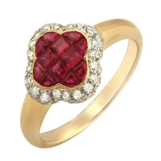 1stDibs Four Leaf Clover 1.69 Carat Ruby and 0.40 Carat Diamonds 18 Karat Gold Band Ring