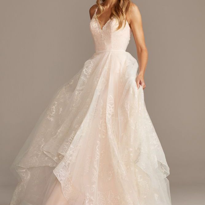 David's Bridal Collection Glitter Floral and Tulle Layered Wedding Dress