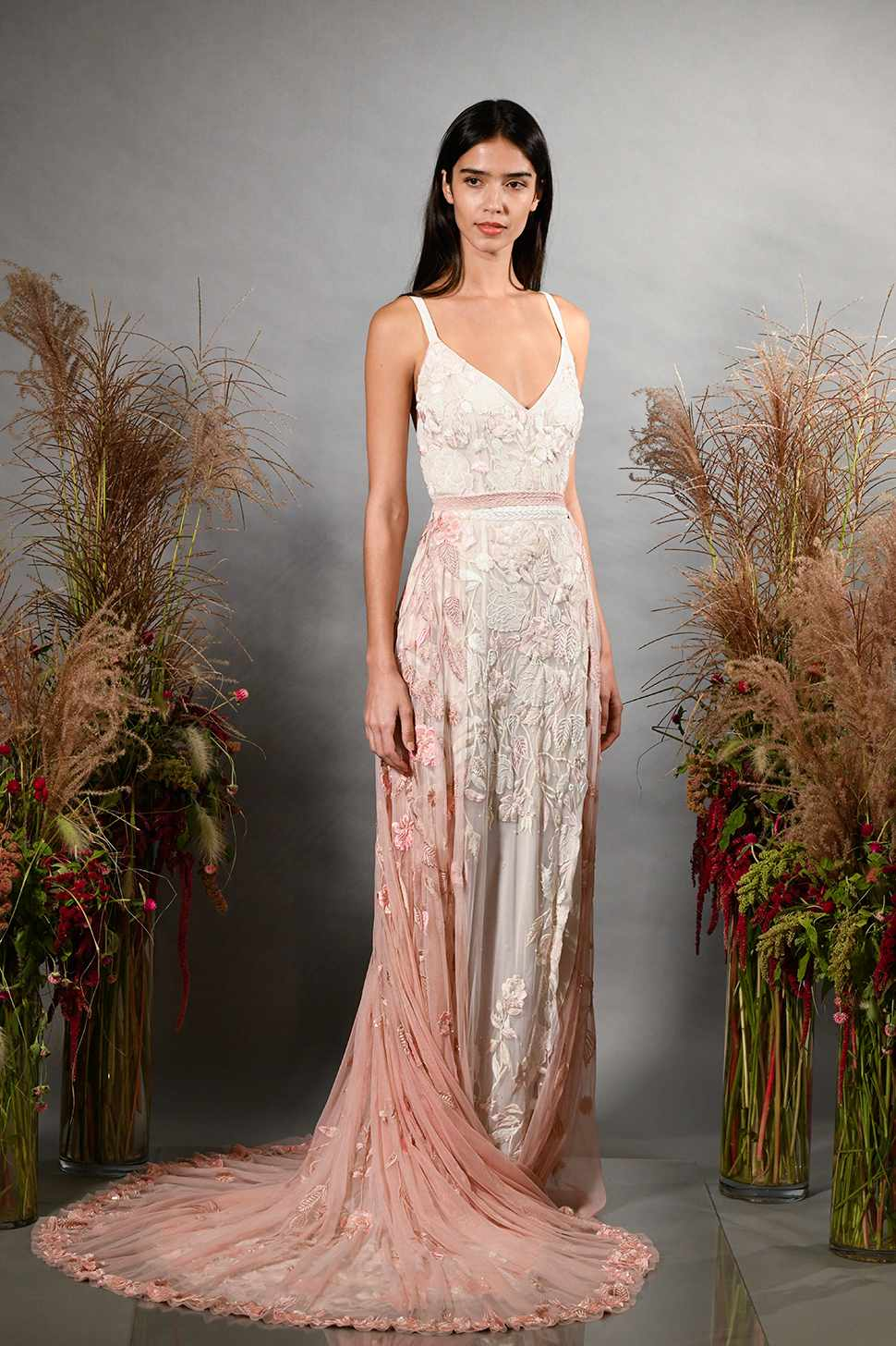 Model in pink sleeveless wedding dress
