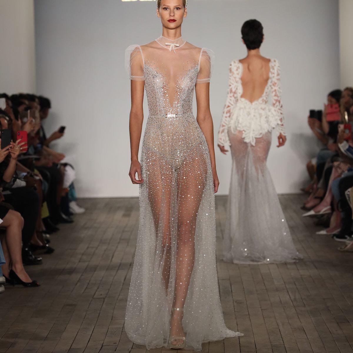 Model in sheer high neck wedding dress