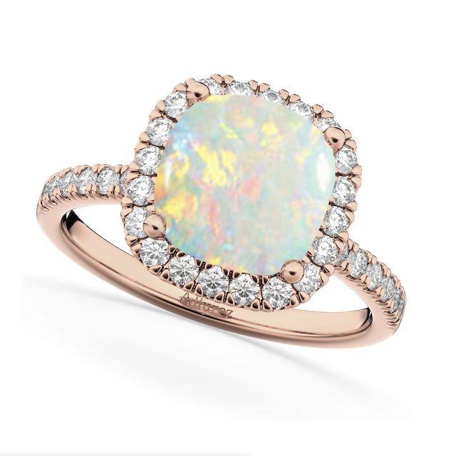 Allurez Cushion Cut Halo Opal & Diamond Engagement Ring