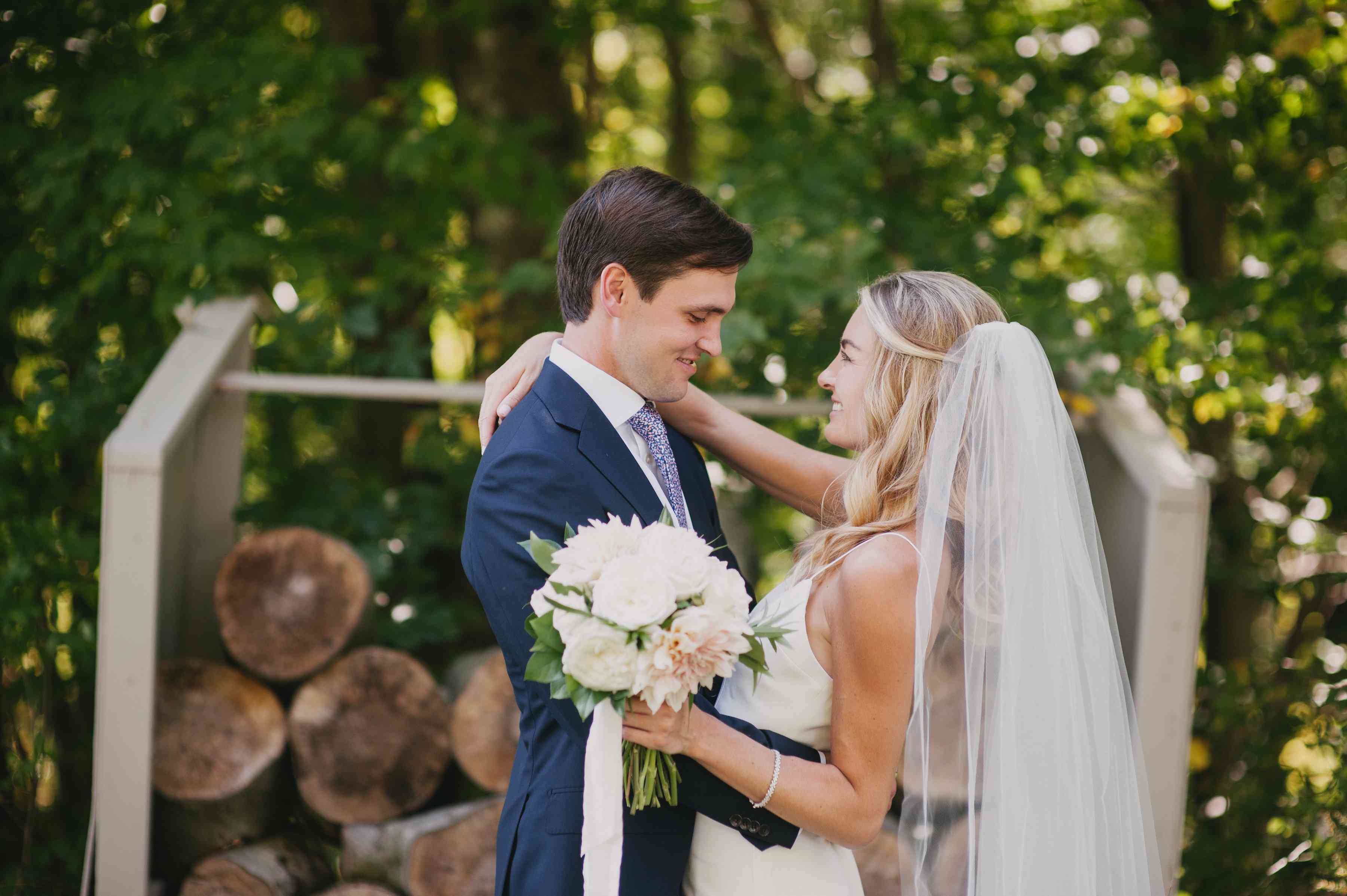 <p>bride and groom starring into each others eyes</p><br><br>
