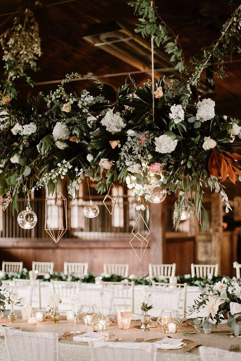 a hanging floral centerpiece