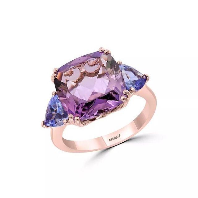 Amethyst & Tanzanite Ring in 14K Rose Gold