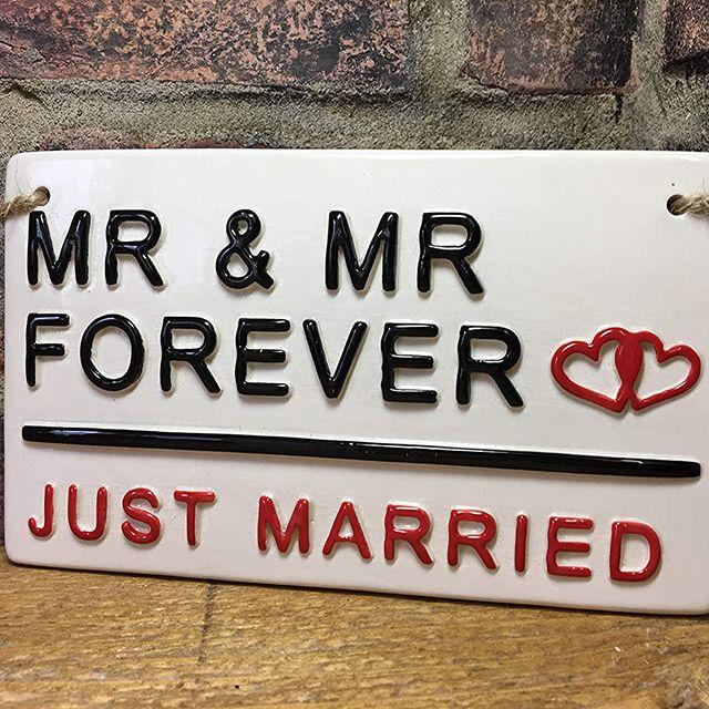 Mr. & Mr. Just Married Ceramic Sign