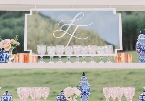 lucite sign with couples initials