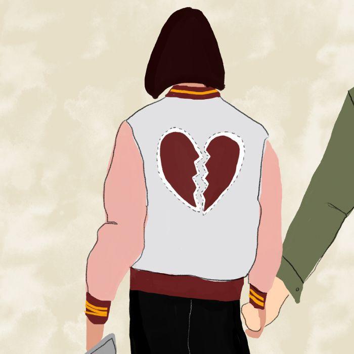 Illustration of a broken heart on a jacket