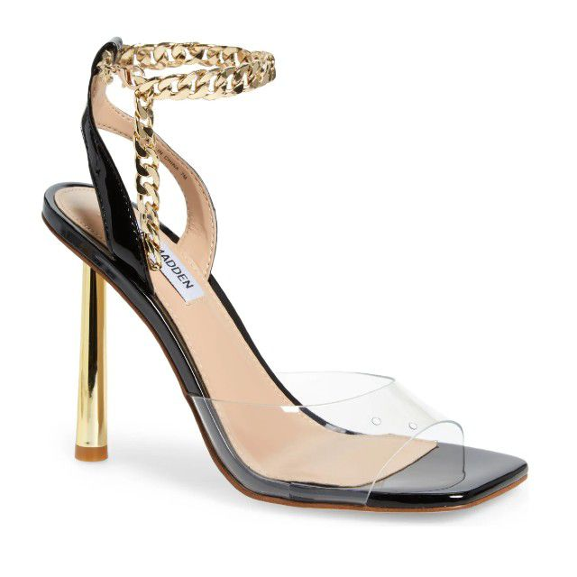 black heels with gold chain