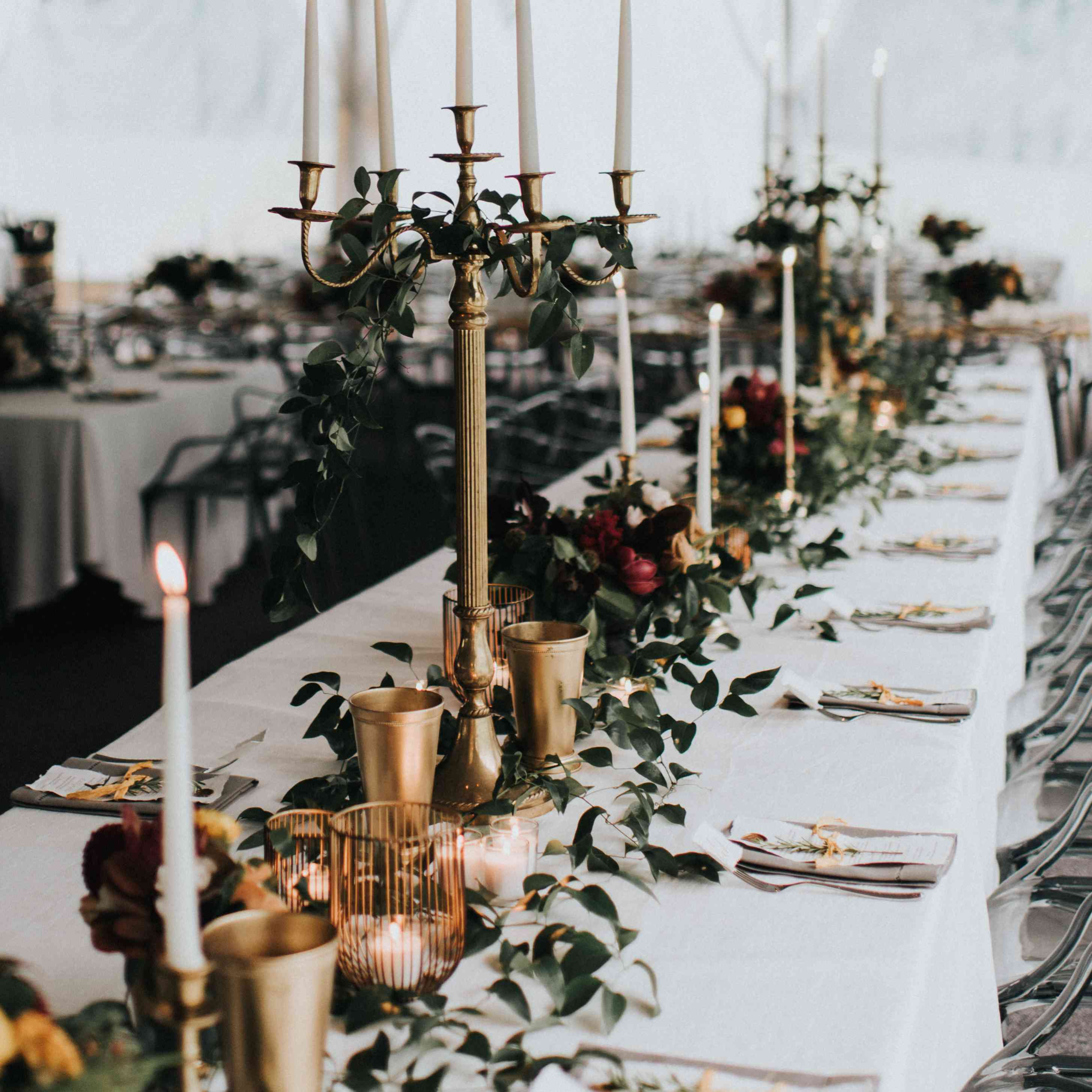 personalized michigan wedding, fall tablescape with candles
