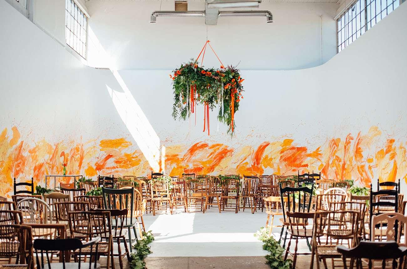 Wedding Ceremony Space with Splashes of Orange