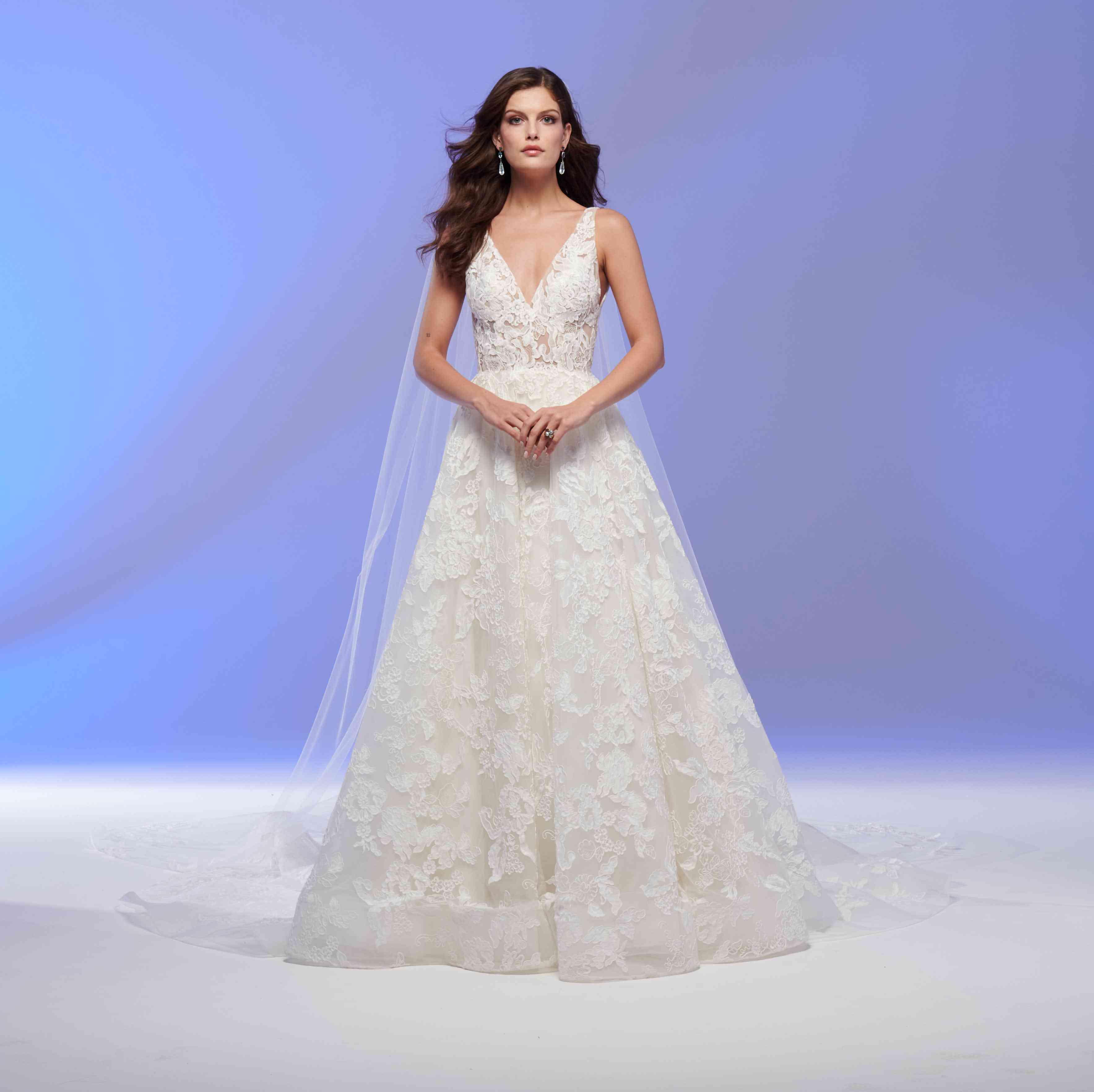 Geneva deep V-cut wedding dress