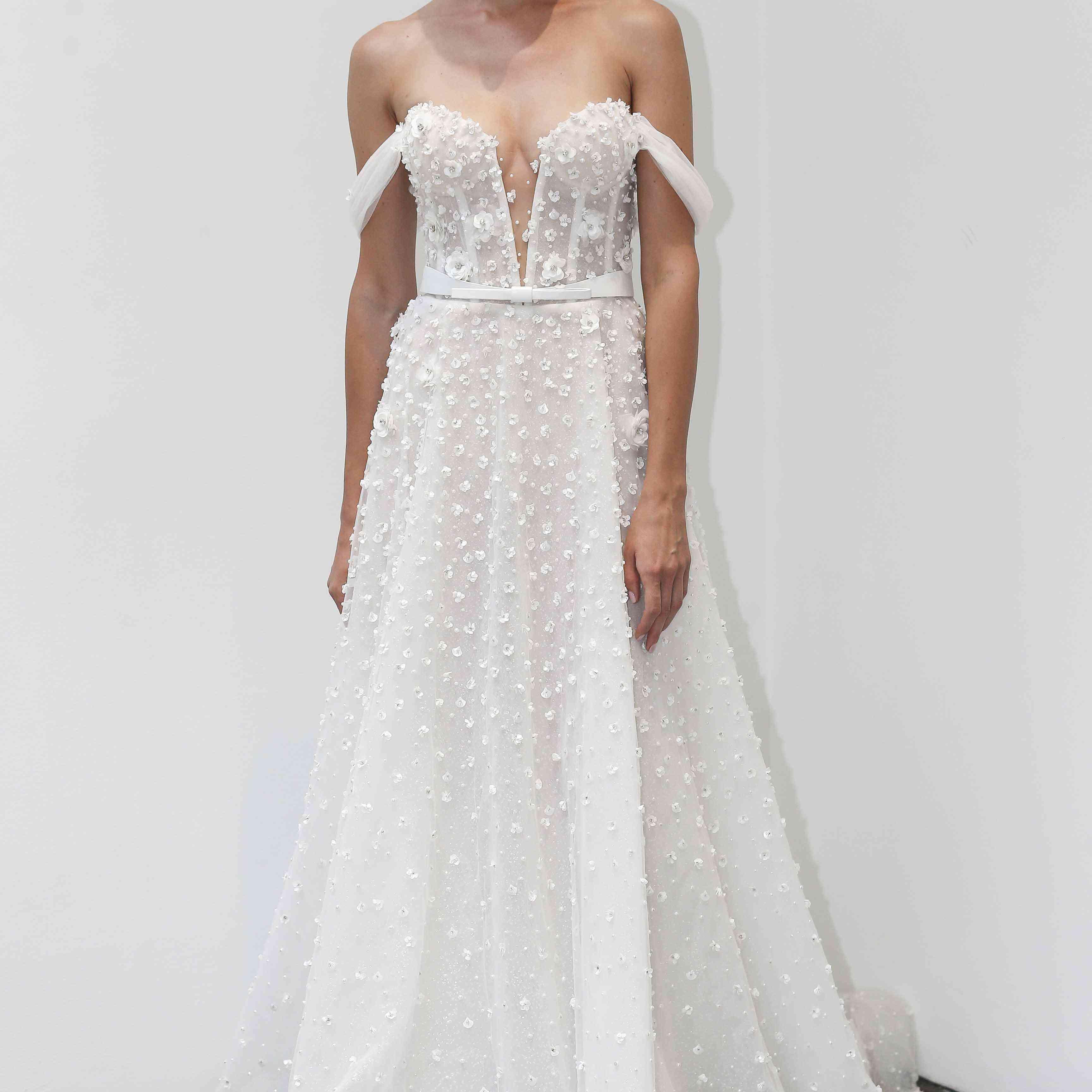 Noelle off-the-shoulder wedding dress