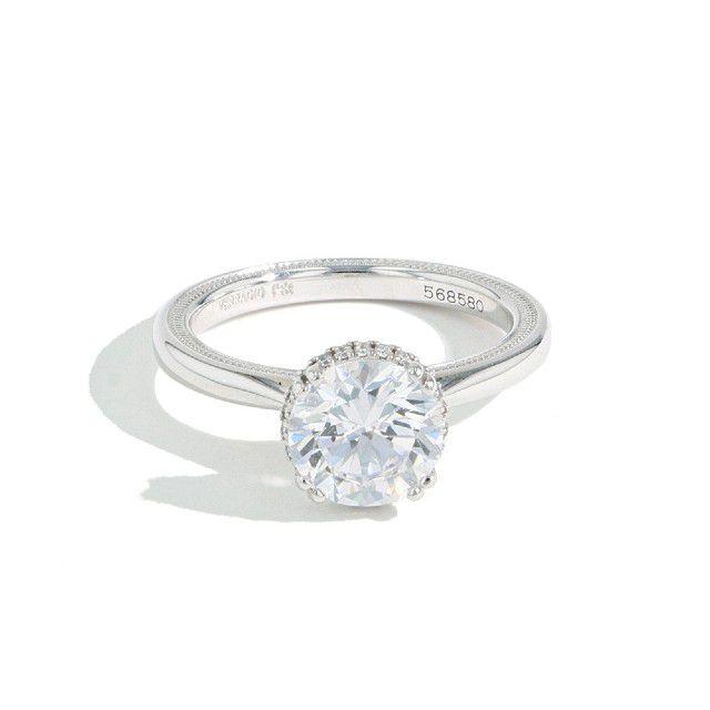 round diamond hidden halo engagement ring